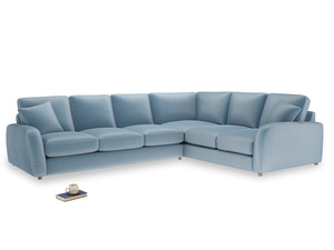 Xl Right Hand Easy Squeeze Corner Sofa in Chalky blue vintage velvet
