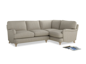 Large Right Hand Jonesy Corner Sofa in Thatch house fabric