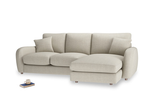 Large right hand Easy Squeeze Chaise Sofa in Thatch house fabric