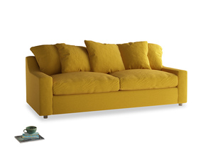 Large Cloud Sofa in Yellow Ochre Vintage Linen