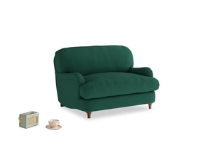 Jonesy Love seat in Cypress Green Vintage Linen