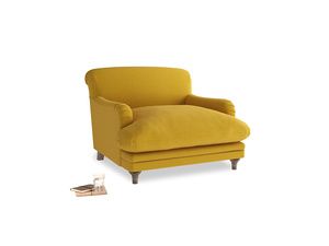 Pudding Love seat in Yellow Ochre Vintage Linen