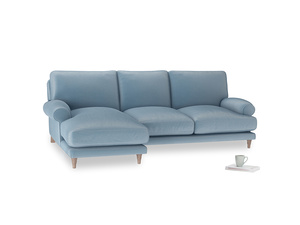 Large left hand Slowcoach Chaise Sofa in Chalky blue vintage velvet