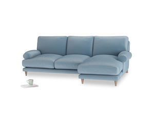 Large right hand Slowcoach Chaise Sofa in Chalky blue vintage velvet