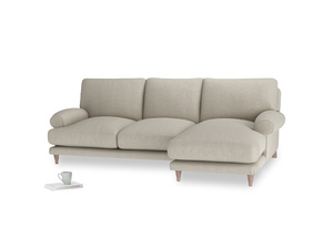 Large right hand Slowcoach Chaise Sofa in Thatch house fabric
