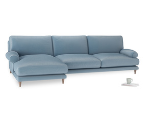 XL Left Hand  Slowcoach Chaise Sofa in Chalky blue vintage velvet
