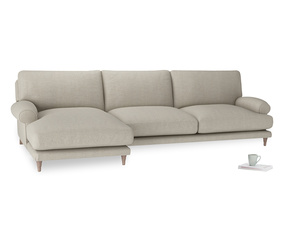 XL Left Hand  Slowcoach Chaise Sofa in Thatch house fabric