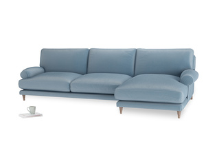 XL Right Hand  Slowcoach Chaise Sofa in Chalky blue vintage velvet