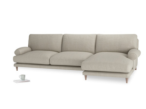 XL Right Hand  Slowcoach Chaise Sofa in Thatch house fabric
