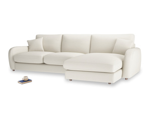 XL Right Hand  Easy Squeeze Chaise Sofa in Chalky White Clever Softie