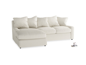 Large left hand Cloud Chaise Sofa in Chalky White Clever Softie