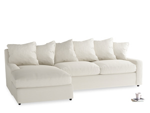 XL Left Hand  Cloud Chaise Sofa in Chalky White Clever Softie