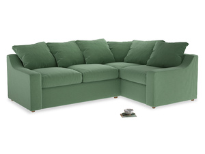 Large Right Hand Cloud Corner Sofa in Thyme Green Vintage Linen