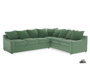 Xl Right Hand Cloud Corner Sofa in Thyme Green Vintage Linen