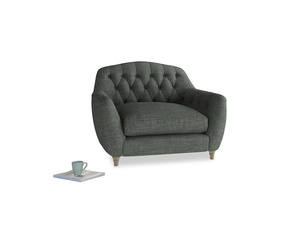 Love Seat Butterbump Love Seat in Pencil Grey Clever Laundered Linen