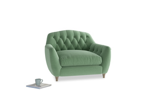 Love Seat Butterbump Love Seat in Thyme Green Vintage Linen
