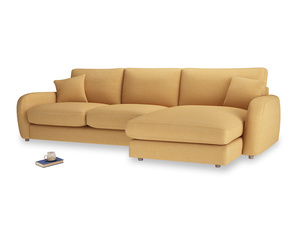 XL Right Hand  Easy Squeeze Chaise Sofa in Honeycomb Clever Softie