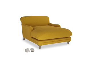 Pudding Love seat chaise in Yellow Ochre Vintage Linen