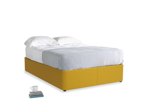 Double Store Storage Bed in Yellow Ochre Vintage Linen