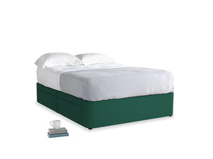 Double Tight Space Storage Bed in Cypress Green Vintage Linen