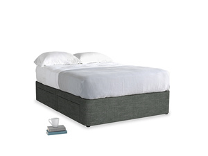 Double Tight Space Storage Bed in Pencil Grey Clever Laundered Linen