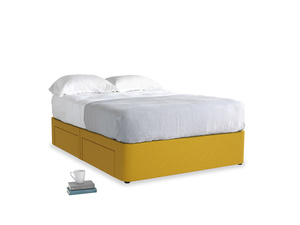 Double Tight Space Storage Bed in Yellow Ochre Vintage Linen
