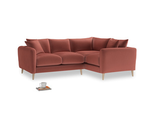 Large Right Hand Squishmeister Corner Sofa in Dusty Cinnamon Clever Velvet