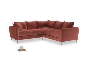 Even Sided Squishmeister Corner Sofa in Dusty Cinnamon Clever Velvet