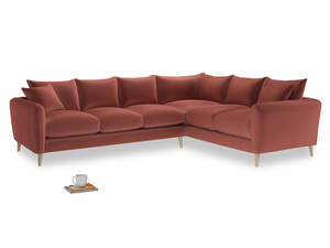 Xl Right Hand Squishmeister Corner Sofa in Dusty Cinnamon Clever Velvet