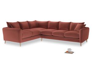 Xl Left Hand Squishmeister Corner Sofa in Dusty Cinnamon Clever Velvet