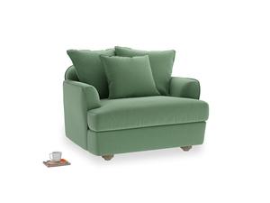 Smooch Love Seat in Thyme Green Vintage Linen