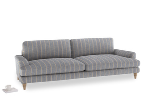 Extra large Cinema Sofa in Brittany Blue french stripe