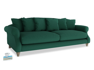 Extra large Sloucher Sofa in Cypress Green Vintage Linen