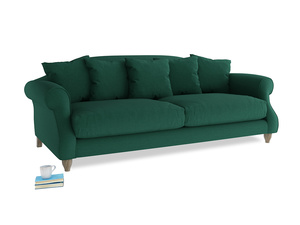 Large Sloucher Sofa in Cypress Green Vintage Linen