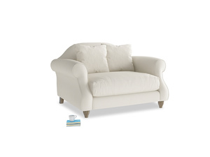 Sloucher Love seat in Chalky White Clever Softie