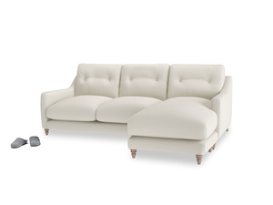 Large right hand Slim Jim Chaise Sofa in Chalky White Clever Softie