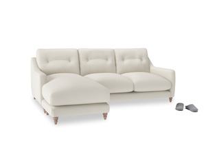 Large left hand Slim Jim Chaise Sofa in Chalky White Clever Softie