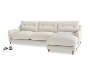 XL Right Hand  Slim Jim Chaise Sofa in Chalky White Clever Softie
