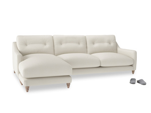 XL Left Hand  Slim Jim Chaise Sofa in Chalky White Clever Softie
