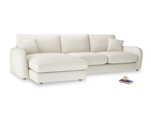 XL Left Hand  Easy Squeeze Chaise Sofa in Chalky White Clever Softie