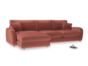 XL Left Hand  Easy Squeeze Chaise Sofa in Dusty Cinnamon Clever Velvet