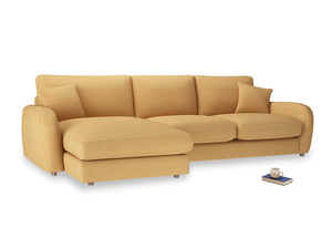 XL Left Hand  Easy Squeeze Chaise Sofa in Honeycomb Clever Softie