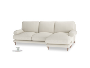 Large right hand Slowcoach Chaise Sofa in Chalky White Clever Softie