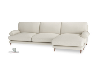 XL Right Hand  Slowcoach Chaise Sofa in Chalky White Clever Softie