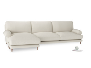 XL Left Hand  Slowcoach Chaise Sofa in Chalky White Clever Softie