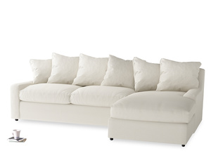 XL Right Hand  Cloud Chaise Sofa in Chalky White Clever Softie