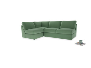 Large left hand Chatnap modular corner storage sofa in Thyme Green Vintage Linen