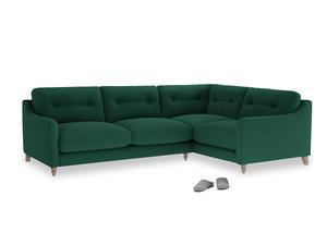 Large Right Hand Slim Jim Corner Sofa in Cypress Green Vintage Linen