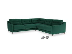 Even Sided Slim Jim Corner Sofa in Cypress Green Vintage Linen