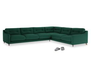 Xl Right Hand Slim Jim Corner Sofa in Cypress Green Vintage Linen